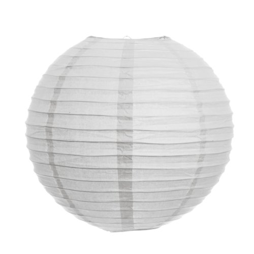 Koyal 14-Inch Paper Lantern, White, Set of 24