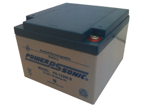 Powersonic Ps-12260B - 12 Volt/26 Amp Hour Sealed Lead Acid Battery With Threaded Insert Terminal