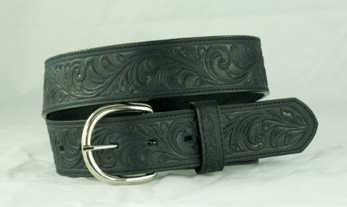 Distressed Tooled Western Belt 38 Black