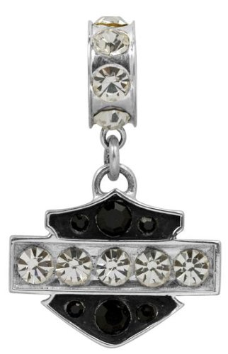 Harley-Davidson® Sterling Silver Bar & Shield Black and White Pendant Ride Bead. HDD0071