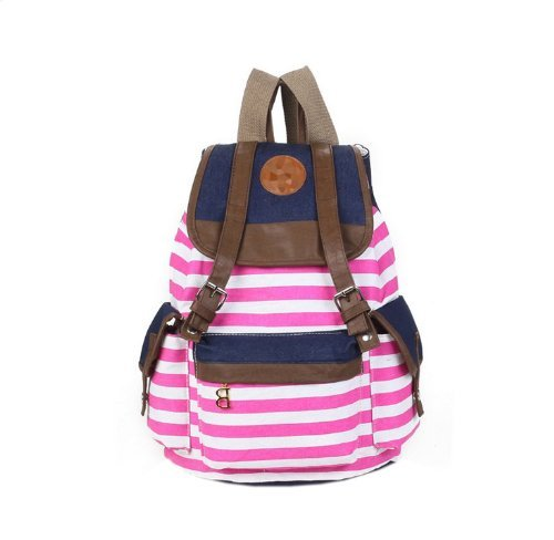 Autofor 2013 New Arrival Unisex Fashionable Canvas Backpack School Bag Super Cute Stripe School College Laptop Bag for Teens Girls Boys Students - Hot Pink Stripe