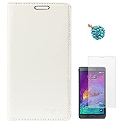 Lishen Premium Quality Leather Stand Flip Cover Case For Samsung Galaxy Note 4 N910 (White) + 3.5mm Dust Jack + Matte Screen