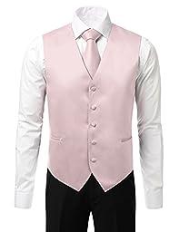 IDARBI Men\'s 4 Piece Set Dress Vest with Bowtie, Necktie, and Handkerchief PINKWHITE XL