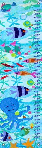 Oopsy daisy Friendly Fish Party Growth Chart by Gale Kaseguma, 12 by 42 Inches