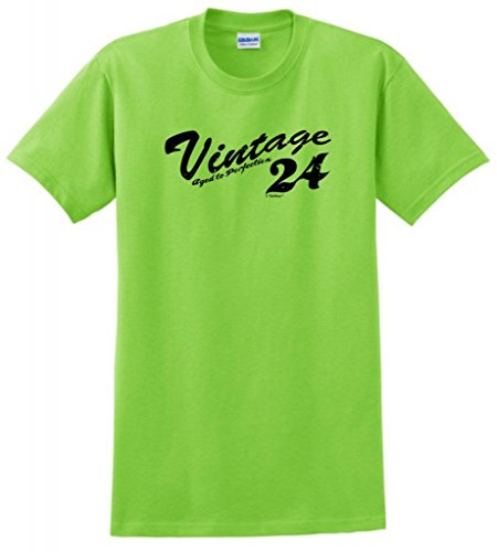 Vintage 1924 Birthday Gift Aged Perfection Distressed T-Shirt Large Lime