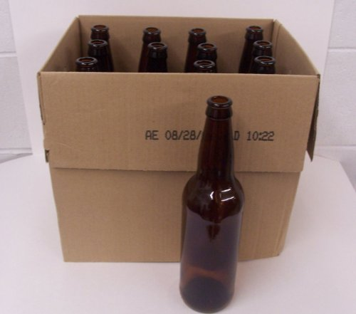 22oz Crown Cap Amber Longneck Bottles, Case of 12