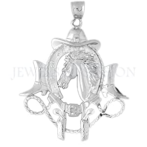 14K White Gold Cowboy Hat, Horse Shoe, Guns, And Horse Head Pendant by Jewels Obsession