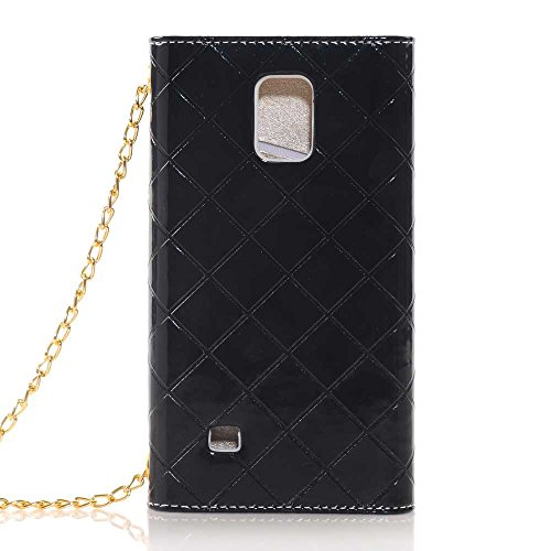 Nancy'S Shop Hand Bag Case Cover For Samsung Galaxy Note Iv Luxury Bow Fashion Wallet Flip Feature With Card Slots/Holder&Strap Pu Leather Hand Bag Case Cover For Samsung Galaxy Note 4 (Hand Bag Black Nancy'S Shop Case)