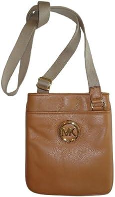 Women's Michael Kors Fulton Leather Crossbody Tan