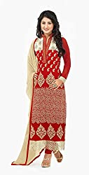 Rajnandini Womens Georgette Salwar Dress Material (Joplplhenari41013 -Red -Free Size)
