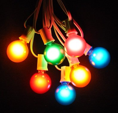 50 Foot Globe Patio String Lights - Set of 50 G40 Assorted Satin Pearl (R,O,G,B,P) Bulbs with White Cord