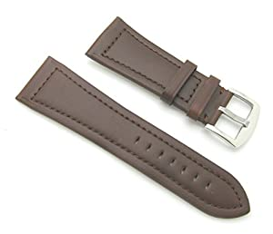 28mm Quality Genuine Leather Plain Brown Watch Band - with Spring Bars