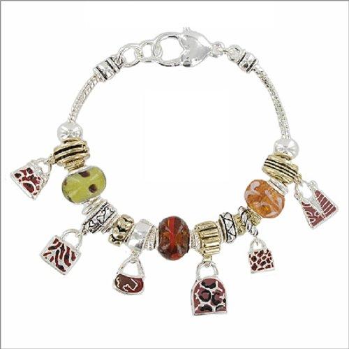 Purse Charms & Murano Glass Bead Bracelet #039206