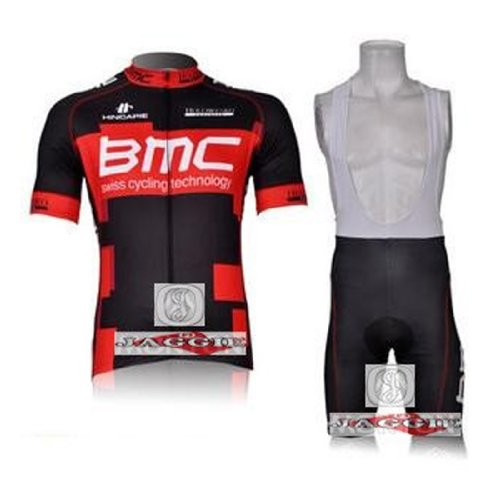 BMC Black Red Short Sleeve Cycling Jerseys Wear Clothes Bicycle/ Bike/ Riding Jerseys + Bib Pants Shorts Size XL