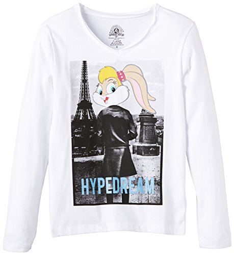 Eleven Paris Girl's HYPELOLA LSV V-Neck Long Sleeve T-Shirt, White, 8 Years (Manufacturer size: 8 ans)
