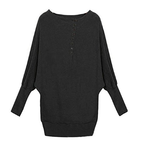 Aokdis Women Long Sleeve Oversized Batwing Sweater Loose Tops Pullover (Xl, Black)