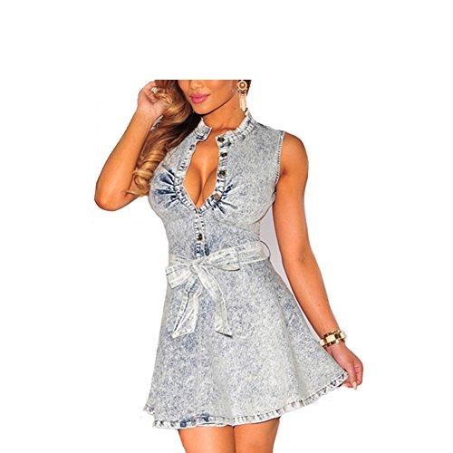 Houser Dress Classic Luxe Denim Belted Skater Elegant Dress with Detachable Belt (Gray)