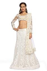 Designersareez Women Net Embroidered White Lehenga Choli With Matching Dupatta(1570)