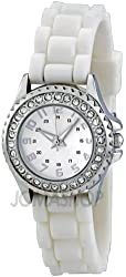FMD White Crystal Accented Rubber Womens Watch ZRT8043