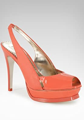bebe Zahara Leather Slingback Platform Sandal Shoes Living Coral-9