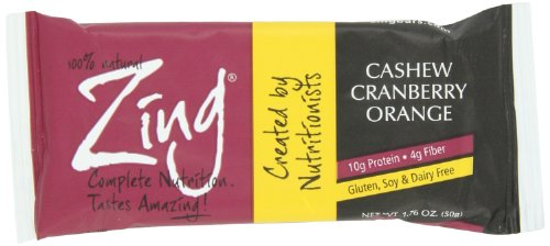 Zing Cashew Cranberry Orange Gluten Free Bars, 1.76-Ounce (Pack of 6)