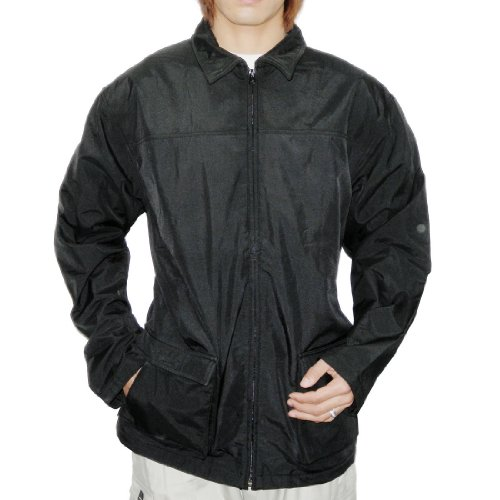 Mens Black Zip-Up Fleece Lined Wind Breaker Jacket – XX-Large