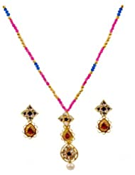 Kshitij Jewels Pink Blue Metal Pendant Necklace Set For Women (KJ 147)