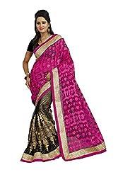 Radhe Krishna Creation Women's Net Saree(RKC02,Pink)
