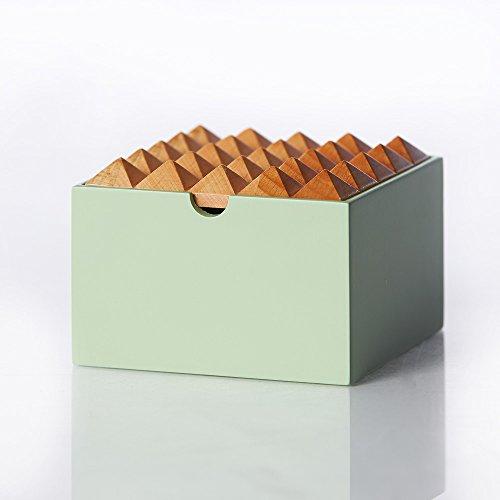Pyramide Holz Aufbewahrungsbox für Schmuck oder Stationery, mittel, mint von Korridor