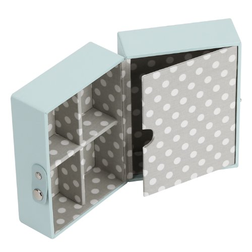 Stackers Jewellery Box | Duck Egg Blue & Gray Polka Dot Travel Box Stacker Accessory