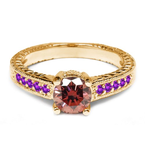 0.95 Ct Round Pink Diamond Purple Amethyst 14K Yellow Gold Engagement Ring