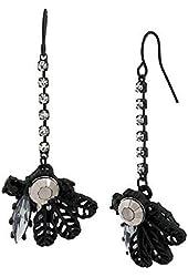 Betsey Johnson Mixed Cluster Long Drop Earrings