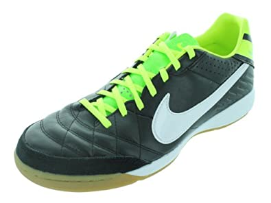 Nike Men's NIKE TIEMPO MYSTIC IV IC INDOOR SOCCER SHOES 8 Men US (BLACK/WHITE/ELECTRIC GREEN)