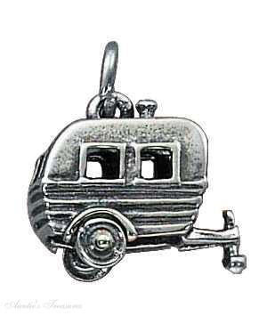 Sterling Silver 3D Camping Rv Trailer Vacation Travel Tour Charm