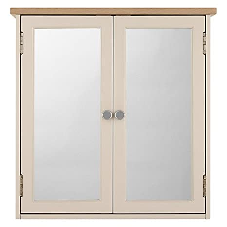 Croft Collection Blakeney Double Mirrored Bathroom Cabinet, Putty