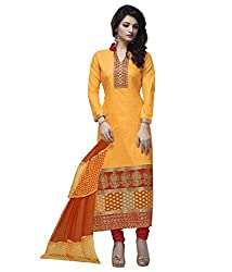 Lifestyle Women's Cotton Unstitched Dress Material (162033709934_Yellow _Large)