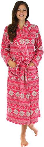 PajamaMania Women's Fleece Robe Pink & Grey Snowflakes PM40GSNOW-MED