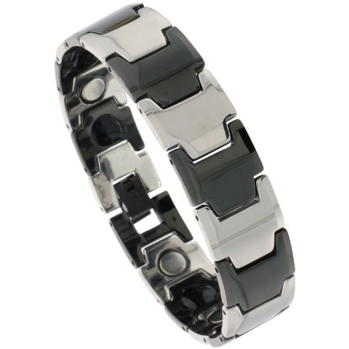 Sabrina Silver Tungsten 2-Tone (Gun Metal & Black) Bar Link Magnetic Bracelet, 9/16 in. (15mm) wide (BTN164)