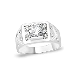 Taraash 925 Sterling Silver Round Cut CZ Promise Ring For Mens FR1141R9