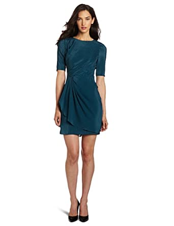 Rebecca Minkoff Women's Viven Dress With Front Gathering, Black/Teal Stripe, 0