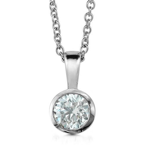 14k White Gold Bezel Solitaire Natural Diamond