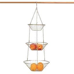 3 Tier Satin Nickel Hanging Vegetable Basket
