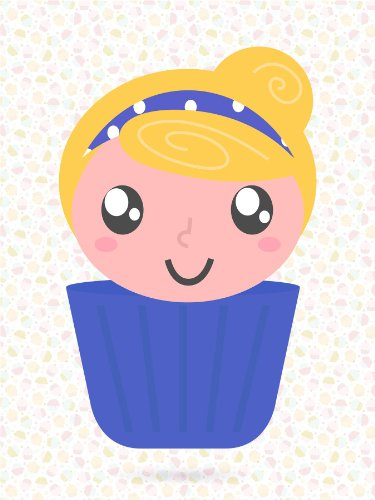 Nursery Cupcake Girl Blue Hairband Smile Kids Bedroom Art 12 X 16 Inch Poster Mp4255B