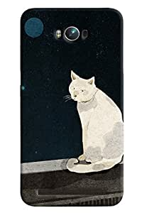 Blue Throat White Cat Pattern Hard Plastic Printed Back Cover/Case For Asus Zenfone Max