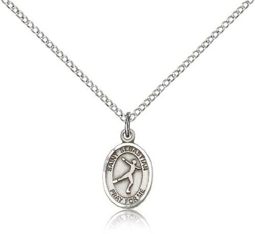 St. Sebastian Figure Skating Medal, Sterling Silver, Small Dime Size