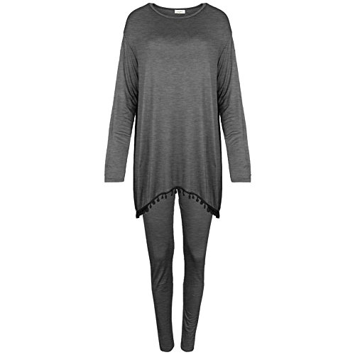 Janisramone Nuovo Da Donna Stampa Serpente Pom Pom tuta Loungewear Baggy Top Leggings 2Piece Suit Charcoal XL (52-54)