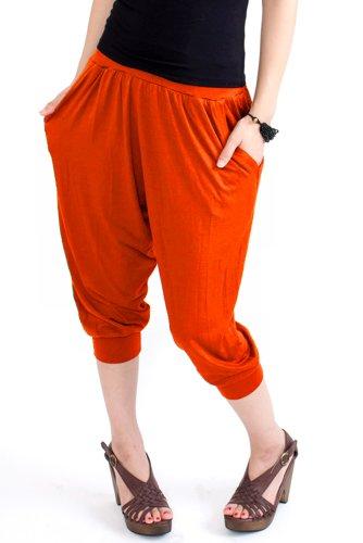 nadoo(ナドゥー) 全20色 ヨガウェア フィットネス ダンス ジャージ サルエル クロップド パンツ 484 オレンジ
