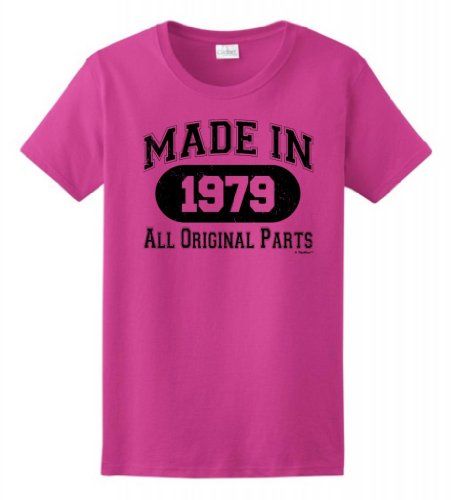 Made 1979 Birthday Gift Ladies T-Shirt Small Heliconia