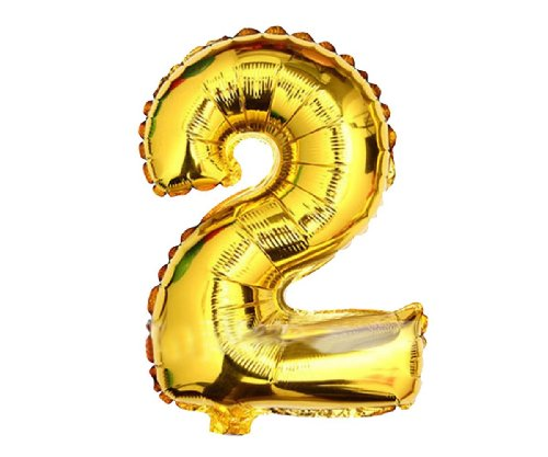 """Gold and silver , 16"""" Numbers 0-9 foil balloons. Birthday / Party balloons. Q1501gold16""""(2)"""