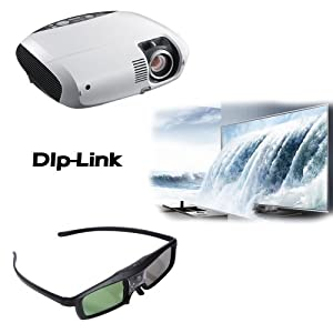 Lumsing Universal Rechargeable 3D Active Shutter Glasses (DLP-Link 3D Projector Active Shutter)